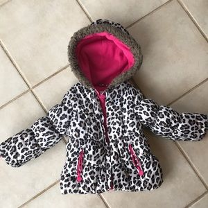 Carter's Leopard Print Coat Jacket Pink Lining